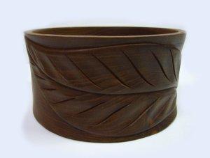 画像1: 天然チーク素材    木ノ葉彫りボール