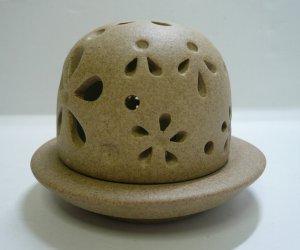 画像1: 香炉            素焼き風丸型