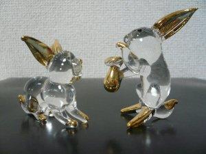 画像1: タイ製ガラス細工 宝のうさぎ