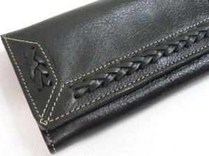 画像2: 長財布 編込み    三面開き 黒