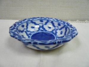 画像1:  青白陶器       小皿 11cm ギザ
