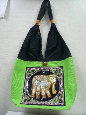 画像1: タイ製コットンバック キラ1象(黄緑)