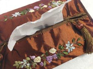 画像3: ティッシュカバー       花柄(茶)