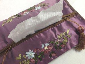 画像3: ティッシュカバー       花柄(紫)