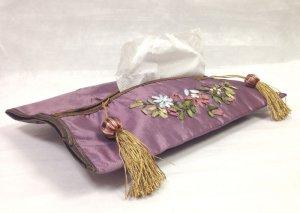 画像1: ティッシュカバー       花柄(紫)