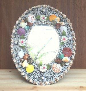 画像1: 貝細工の大きな鏡 スタンド&壁掛け式 【楕円サイズ】