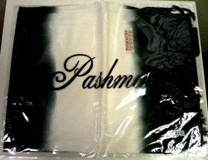 画像2: グラデーション パシュミナ&シルク   ブラック
