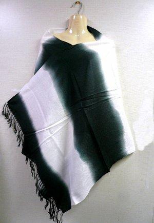 画像1: グラデーション パシュミナ&シルク   ブラック