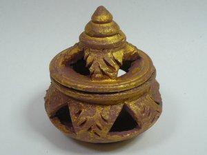 画像1: タイ製 壺型香炉    ゴールド