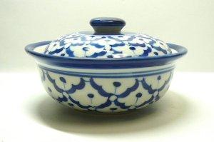 画像1:  青白陶器  蓋付きお椀13cm