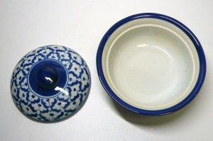 画像3:  青白陶器  蓋付きお椀13cm
