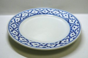 画像1:  青白陶器      平皿  18cm