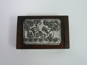 画像1: タイ製 木箱小  爪楊枝入れ
