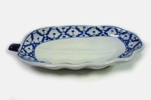 画像3:  青白陶器        パパイア型皿22cm