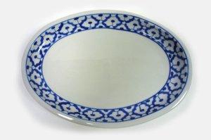 画像1:  青白陶器 楕円 皿 26.5cm