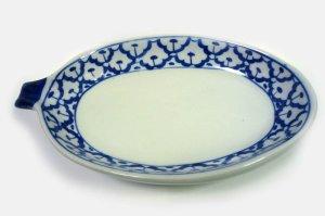 画像3:  青白陶器 マンゴー型皿20cm