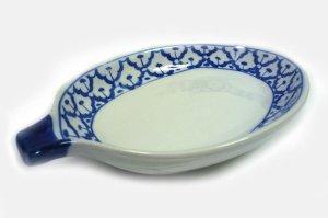 画像1:  青白陶器 マンゴー型皿20cm
