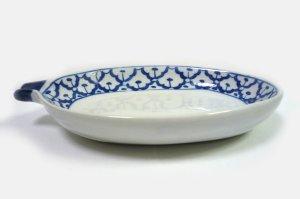 画像4:  青白陶器 マンゴー型皿20cm
