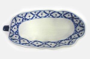 画像1:  青白陶器        パパイア型皿22cm