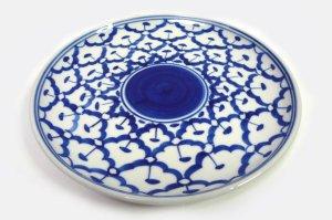 画像1:  青白陶器      総柄皿 20cm