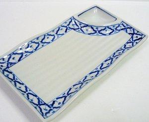 画像3:  青白陶器        長方形皿(薬味)