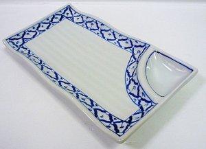 画像2:  青白陶器        長方形皿(薬味)