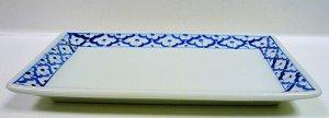 画像2:  青白陶器 長方形皿(大)23cm
