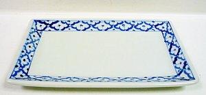 画像3:  青白陶器 長方形皿(大)23cm