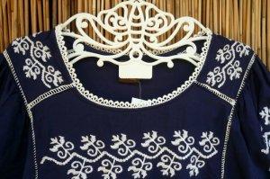 画像2: パフスリーブ      刺繍(ネイビー)