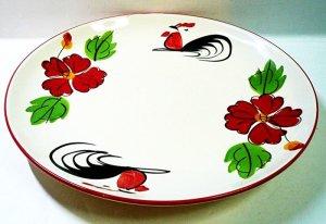 画像1: にわとり柄      平皿丸 約24.5cm