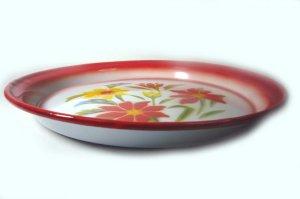 画像4: (3) ホーローお皿      25cm お花3