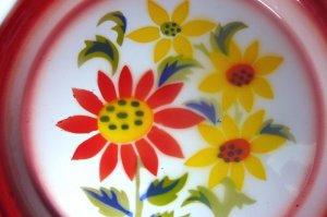 画像2: (2) ホーローお皿     25cm お花4