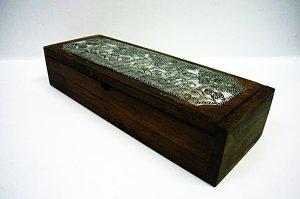 画像2: カトラリーケース 木箱(大)象細工
