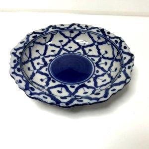 画像1: 青白陶器 花型ギザ15cm