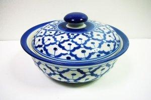 画像1:  青白陶器  蓋付きお椀19cm