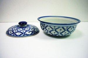 画像4:  青白陶器  蓋付きお椀19cm
