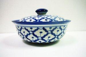 画像2:  青白陶器  蓋付きお椀19cm