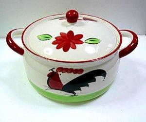 画像1: にわとり柄    陶器鍋20cm